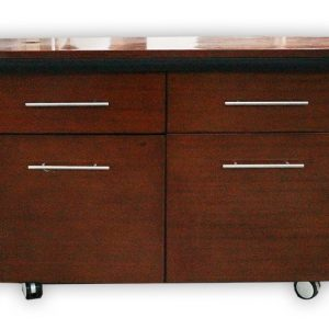 TV Cabinet with 2 Doors and 2 Drawers on Wheels