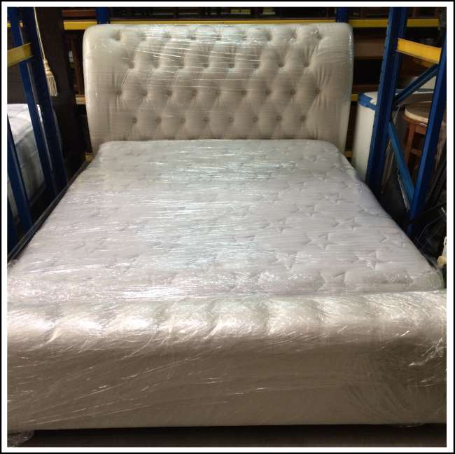 Queen size bed with divan and mattress bf f 033 kaki for Queen size divan