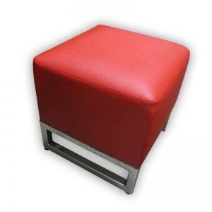 Red, Square PU Stool with metal legs