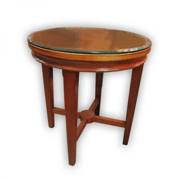 Round Side Table with Glass Top