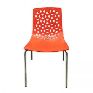 Red Plastic Chair with metal Frame