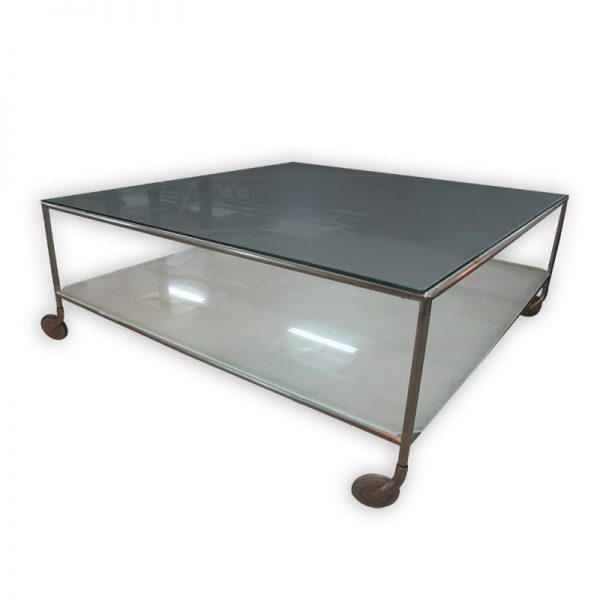 Square Coffee Table with Glass Top and Wheels 100.5cm