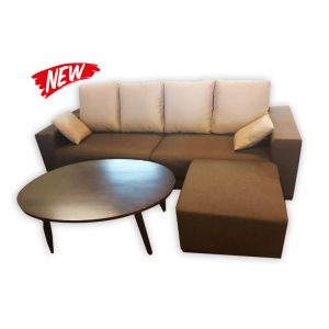 4-Seat Fabric Couch with Stool