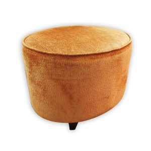 Orange Oval Fabric Stool