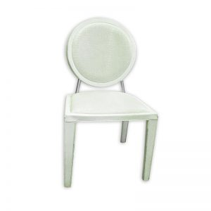 White Restaurant Dining Chair with Crocodile print