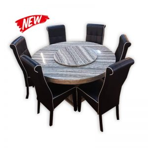 Round Dining Table with Grey Marble Top with 6 Chairs