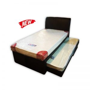 Super Single Mattress with Frame, Headrest and a storable Single Mattress.