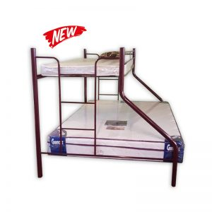 Metal Frame Bunkbed with Queen and Single Mattress