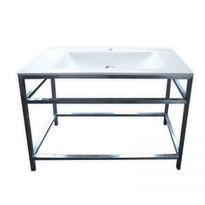 Porcelain basin with freestanding steel frame