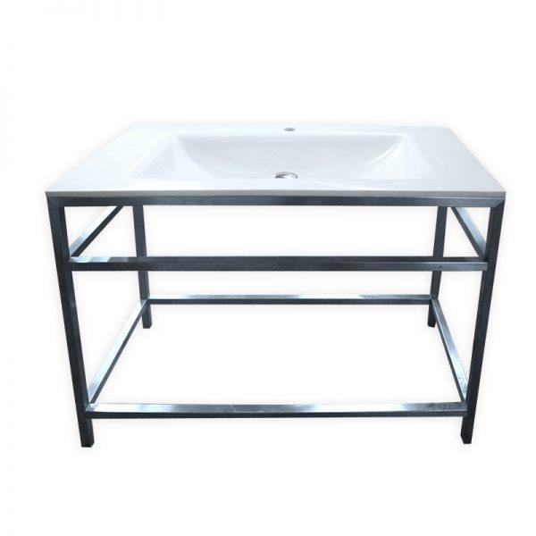 Porcelain basin with freestanding steel frame