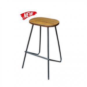 Wooden Barstool with Metal legs