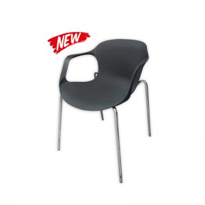 Black Plastic Chair with Armrest