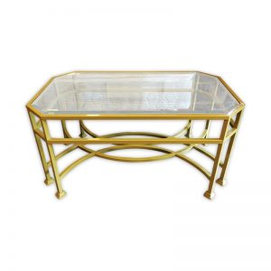 Golden-colored Coffee Table with Glass Top