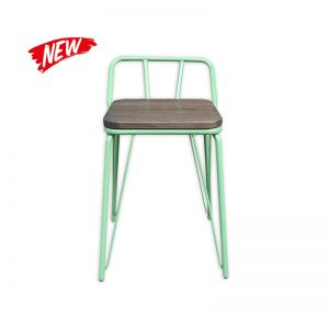 Metal Leg Barstool with Wooden seat and Low backrest