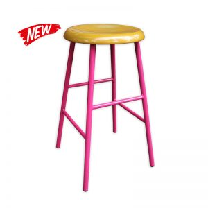 Metal Leg Barstool, with Wooden Seat