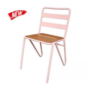 Metal Chair with Wooden Seat