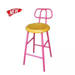 Metal Framed Barstool with Wooden seat and metal backrest