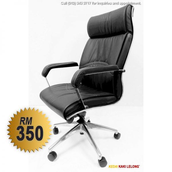 Leather Director's Chair with High Back and Swivel