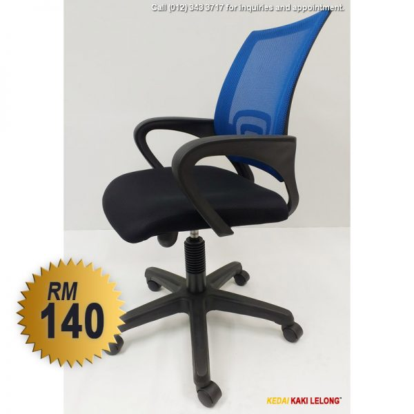Blue Office Chair with Medium-size Back and Swivel