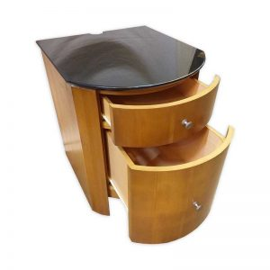 Wooden Side Table with glass top