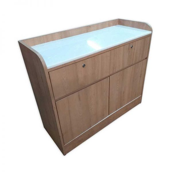 Wooden Counter with Glass work top