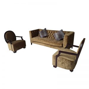 Fabric Couch and 2 Lounge Chairs Set