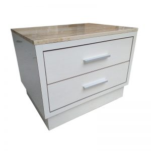 Modern Side Table with 2 drawers and Marble Top