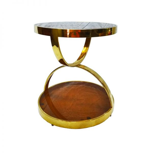 Modern Round Side Table with Glass Top