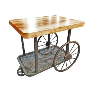 Traditional Side Table with Coach Wheels