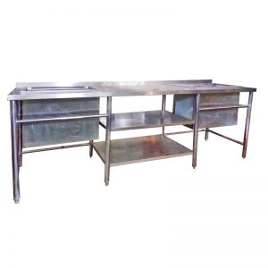 Stainless Steel Work Bench with 2 Sinks