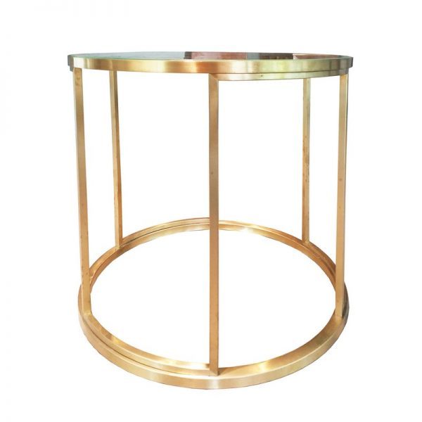 New Round Side Table with Glass Top