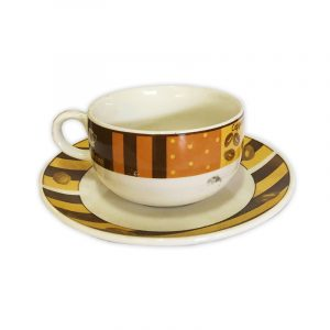 Retro Coffee Cup with Saucer
