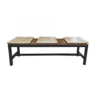 Wooden Bench with Metal Frame