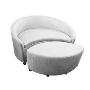 Fabric Round Sofa with matching Ottoman