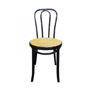 Wooden Restaurant Chair with Rattan Seat