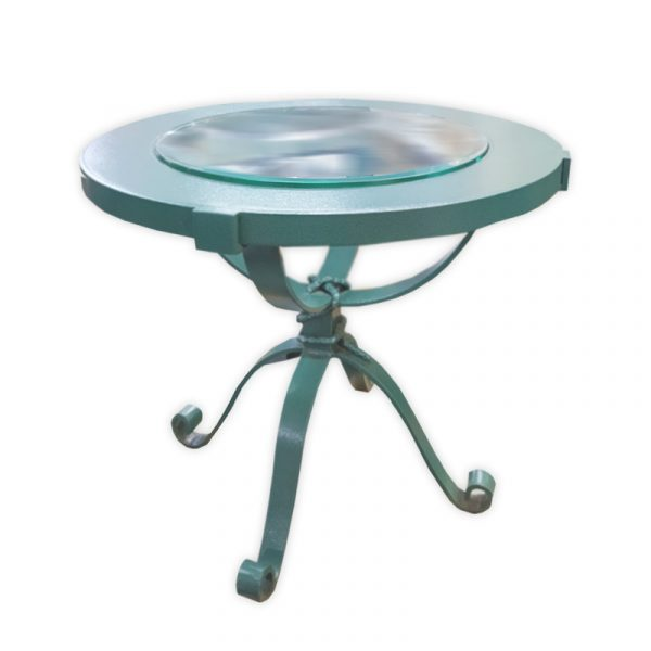 Steel Outdoor Coffee Table with Glass Top