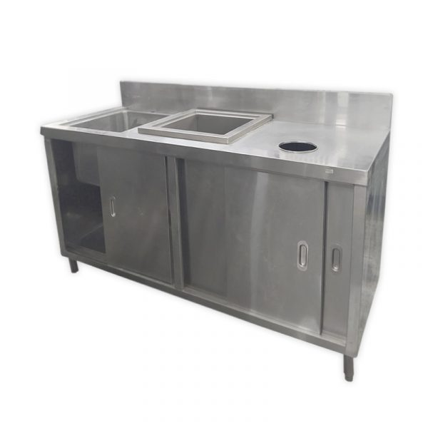 Stainless Steel Workbench with Sink and Storage